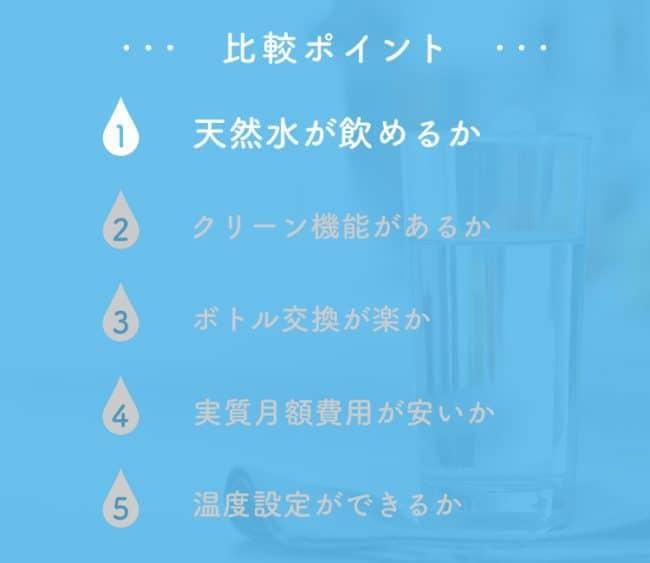 ウォーターサーバーの比較ポイント1「天然水が飲めるか」