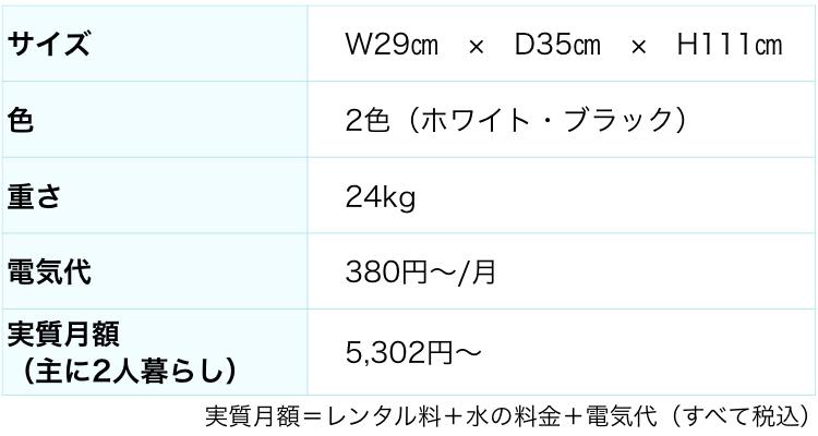 フレシャスのウォーターサーバースラットのスペック表
