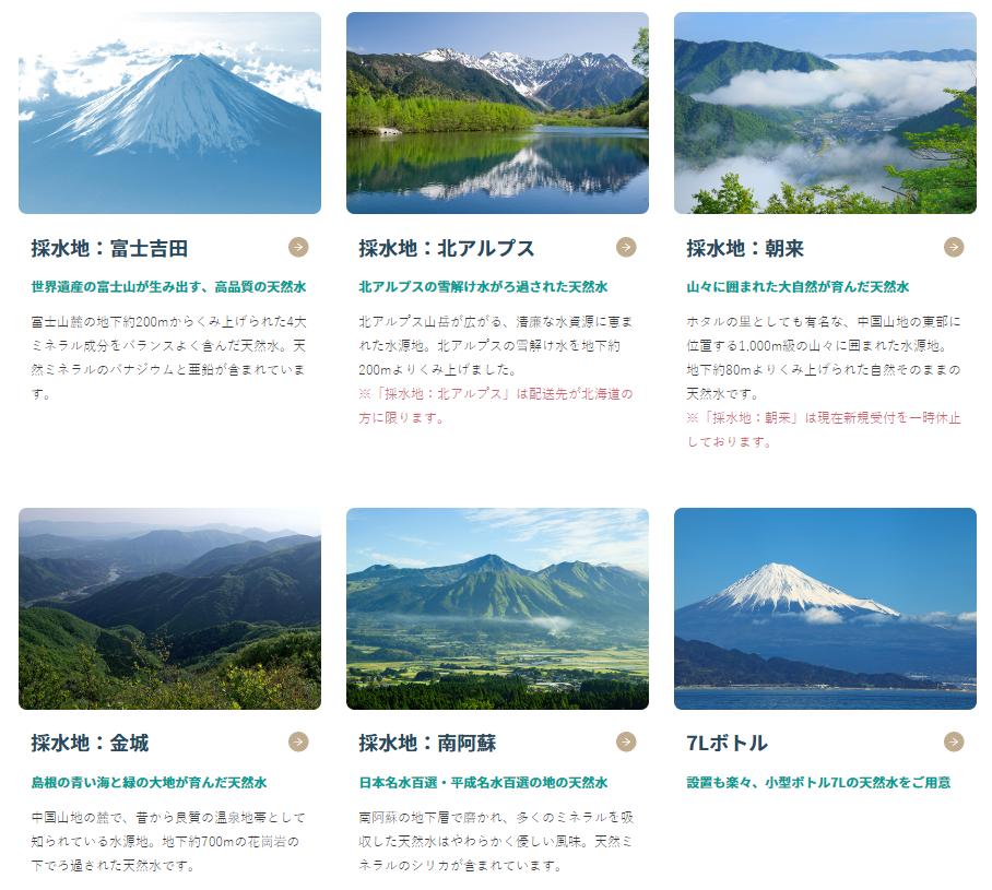 天然水のラインナップの画像